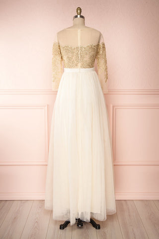 Josiane Beige Tulle A-Line Gown | Robe Maxi back view | Boutique 1861