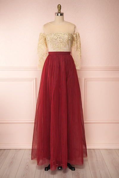 Josiane Burgundy Tulle A-Line Gown | Robe Maxi | Boutique 1861
