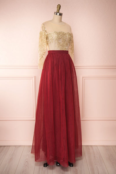 Josiane Burgundy Tulle A-Line Gown | Robe Maxi side view | Boutique 1861