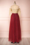 Josiane Burgundy Tulle A-Line Gown | Robe Maxi back view | Boutique 1861