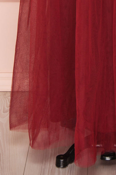 Josiane Burgundy Tulle A-Line Gown | Robe Maxi skirt close up | Boutique 1861