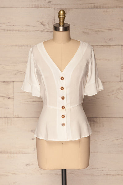 Josidpol White Short Sleeved Button-Up Top | La Petite Garçonne 1