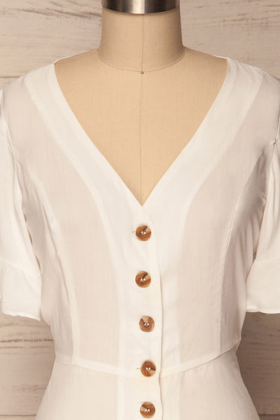 Josidpol White Short Sleeved Button-Up Top | La Petite Garçonne 3