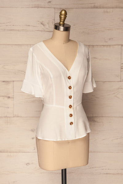 Josidpol White Short Sleeved Button-Up Top | La Petite Garçonne 4