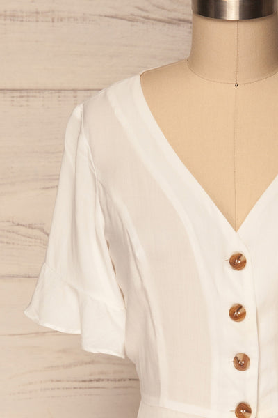 Josidpol White Short Sleeved Button-Up Top | La Petite Garçonne  2