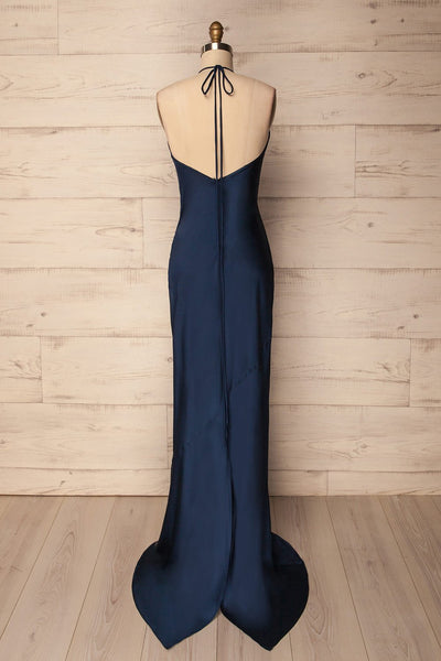 Jude Navy | Silky Halter Dress