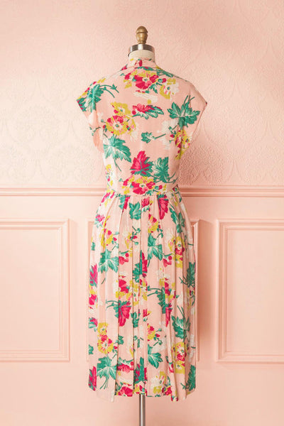 Julina Pink Floral Retro A-Line Cocktail Dress | Boutique 1861