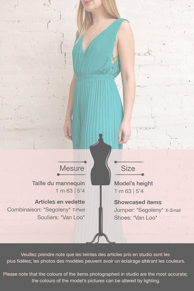 Segoleny Turquoise Pleated Wide Leg Jumpsuit | Boutique 1861 template