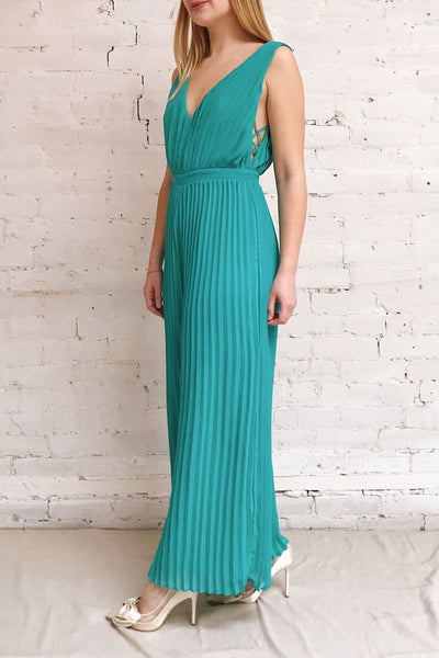 Segoleny Turquoise Pleated Wide Leg Jumpsuit | Boutique 1861 model look