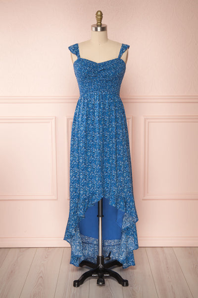 Junonia Blue Floral High-Low Dress w/ Frills | Boutique 1861