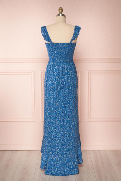Junonia Blue Floral High-Low Dress w/ Frills | Boutique 1861 back view