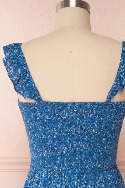 Junonia Blue Floral High-Low Dress w/ Frills | Boutique 1861 back close up
