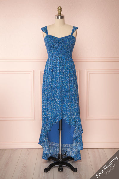 Junonia Blue Floral High-Low Dress w/ Frills | Boutique 1861 front view FS
