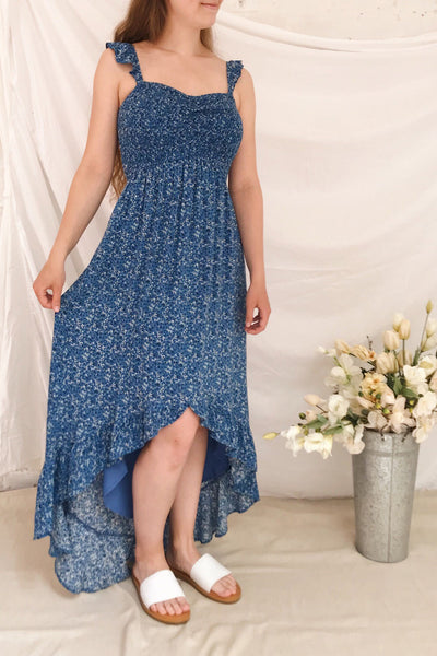 Junonia Blue Floral High-Low Dress w/ Frills | Boutique 1861 model look