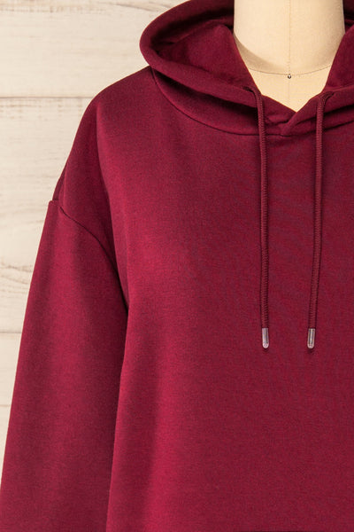 Juxue Cherry Burgundy Oversized Hoodie | La petite garçonne  front close-up