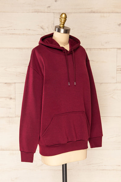 Juxue Cherry Burgundy Oversized Hoodie | La petite garçonne  side view