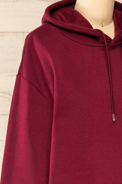 Juxue Cherry Burgundy Oversized Hoodie | La petite garçonne  side close-up