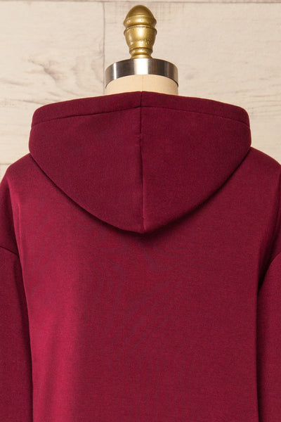 Juxue Cherry Burgundy Oversized Hoodie | La petite garçonne  back close-up