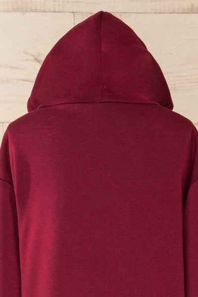Juxue Cherry Burgundy Oversized Hoodie | La petite garçonne  hood close-up