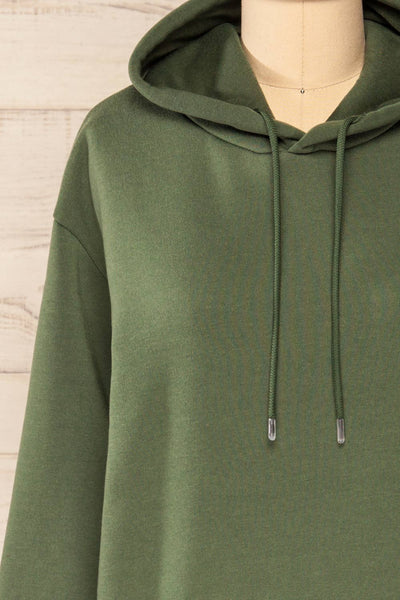 Juxue Forest Green Oversized Hoodie | La petite garçonne  front close-up