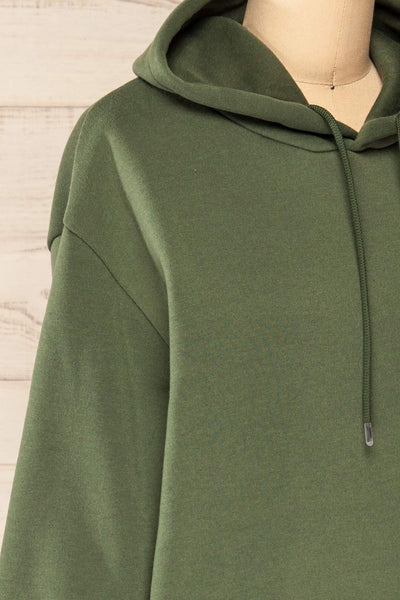 Juxue Forest Green Oversized Hoodie | La petite garçonne  side close-up