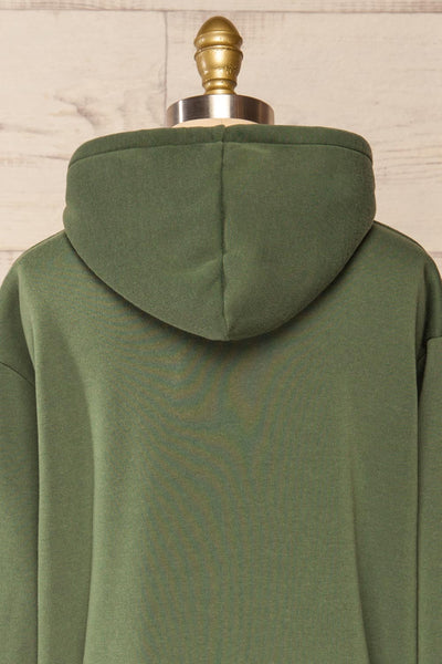 Juxue Forest Green Oversized Hoodie | La petite garçonne  back close-up