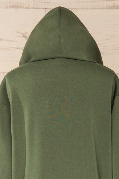 Juxue Forest Green Oversized Hoodie | La petite garçonne  hood close-up