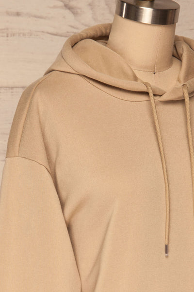 Juxue Sand Beige Hoodie | La petite garçonne side close up