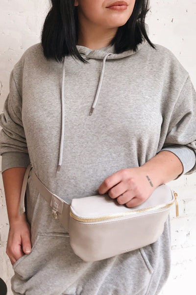Viely Grey Vegan Leather Fanny Pack | La petite garçonne model close up