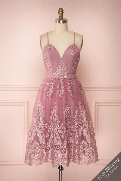 Jyn Rosé Lilac Purple Shimmering Embroidered Dress | Boutique 1861