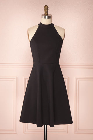 Kael Coffee Black Open Back A-Line Halter Dress | Boutique 1861