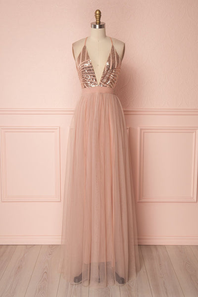 Kaia Gold Dusty Pink Sequins & Plunging Neckline Gown | Boutique 1861