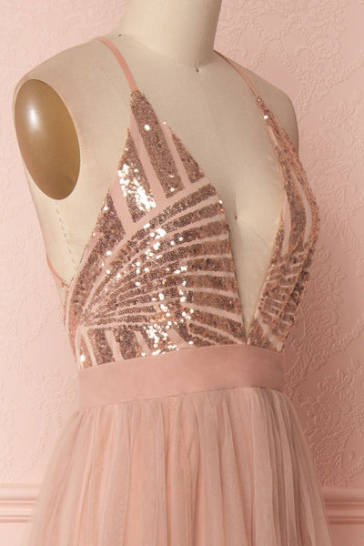 Kaia Gold | Pink Sequin Gown