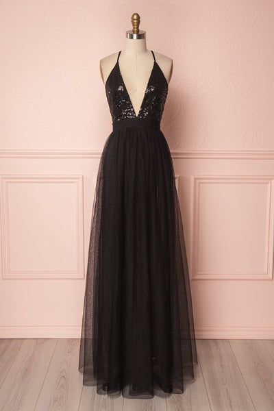 Kaia Night Black Sequins & Plunging Neckline Gown | Boutique 1861