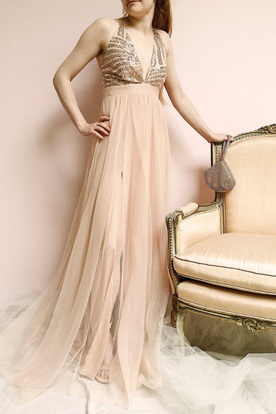 Kaia Gold Dusty Pink Sequin & Plunging Neckline Gown photo | Boutique 1861