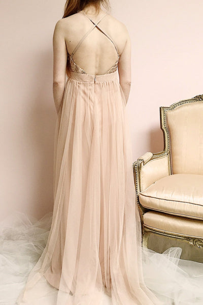Kaia Gold Dusty Pink Sequin & Plunging Neckline Gown photo back | Boutique 1861