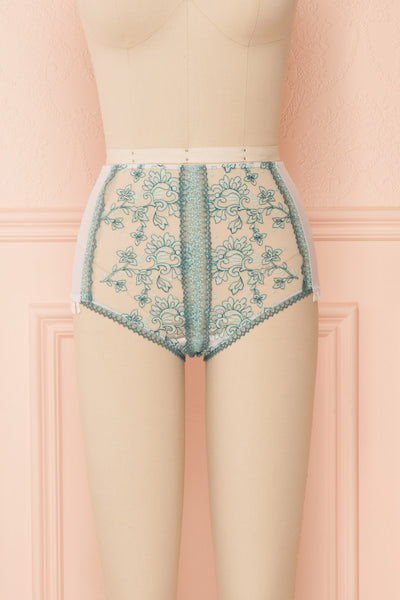 Kaija White & Blue Floral Lace High-Waist Panties | Boudoir 1861 front view