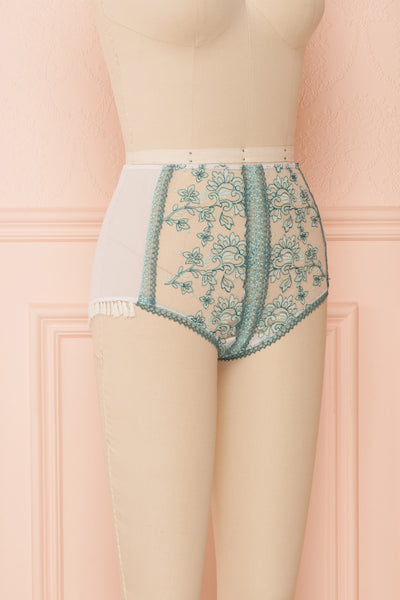 Kaija White & Blue Floral Lace High-Waist Panties | Boudoir 1861 side view