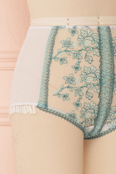 Kaija White & Blue Floral Lace High-Waist Panties | Boudoir 1861 side close-up