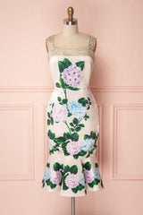 Kaika Blush Fitted Midi Dress with Lilac Appliqués | Boutique 1861