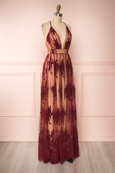Kailania Wine Plunging Neckline Mesh Maxi Gown | Boutique 1861 side view