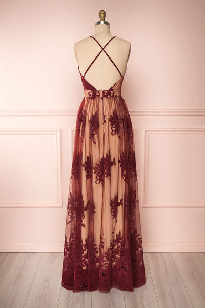 Kailania Wine Plunging Neckline Mesh Maxi Gown | Boutique 1861 back view