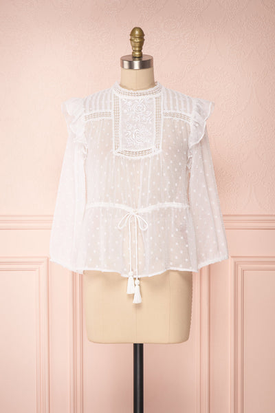 Kaiona Day White Plumetis & Lace Loose Top | Boutique 1861 1