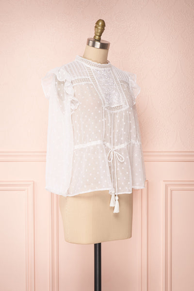 Kaiona Day White Plumetis & Lace Loose Top | Boutique 1861 3