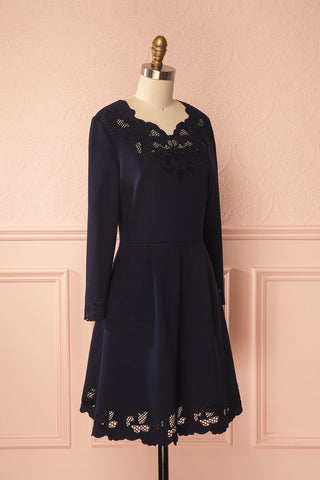 Edit website SEO Kalaya Navy A-Line Dress with Openwork Details | Boutique 1861