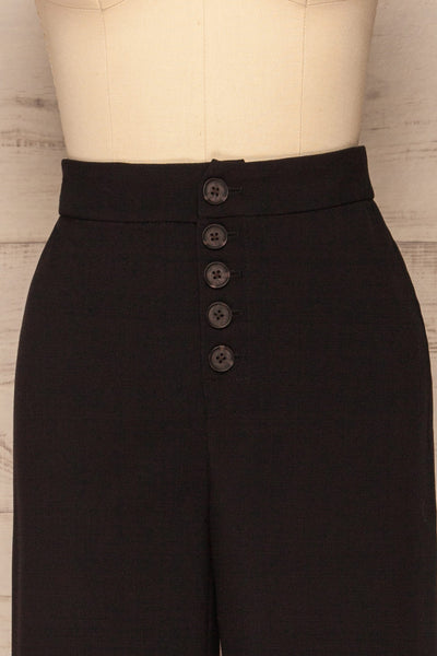 Kalisz Coal Black High-Waisted Pants front close up | La Petite Garçonne