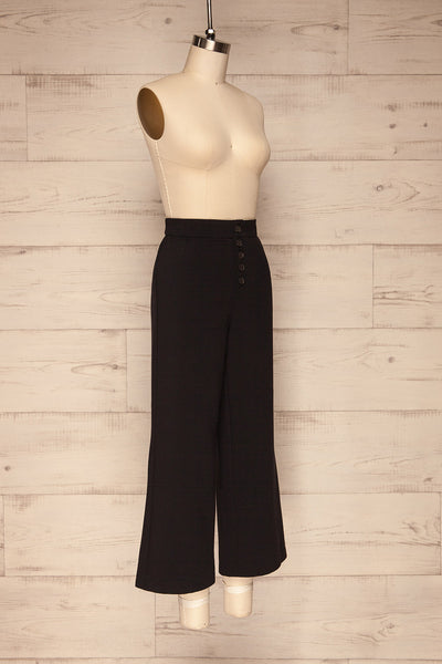 Kalisz Coal Black High-Waisted Pants side view | La Petite Garçonne