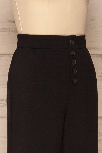 Kalisz Coal Black High-Waisted Pants side close up | La Petite Garçonne