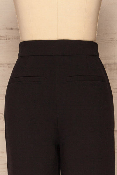 Kalisz Coal Black High-Waisted Pants back close up | La Petite Garçonne
