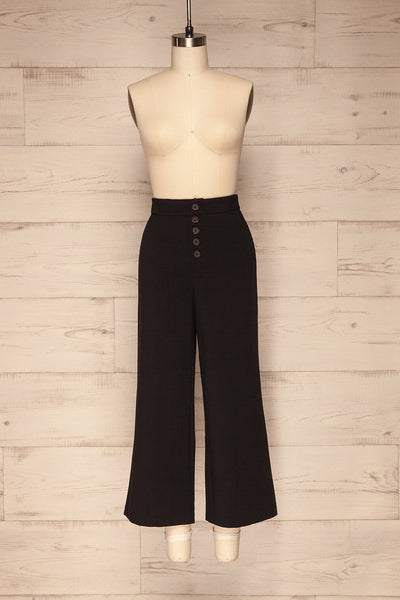 Kalisz Coal Black High-Waisted Pants front view | La Petite Garçonne